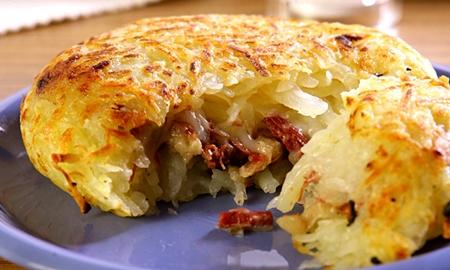 Batata com carne-seca e queijão