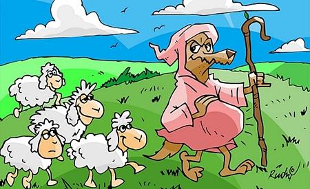 Lobo cuidando das ovelhas